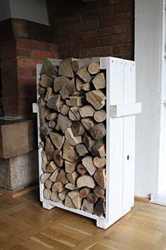 Kaminholzregal Ständer Kaminholz Kaminholzständer Kaminholzablage weiß shabby aus Holz fertig montiert