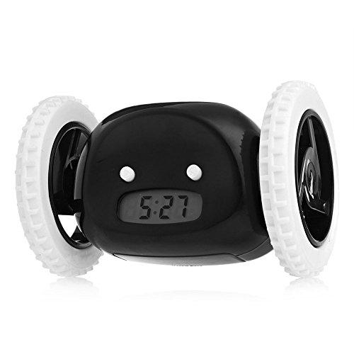 TKSATR Reloj Despertador Digital,Pantalla LCD que ejecuta el despertador, reloj negro del fugitivo en las ruedas para los durmientes pesados, divertido y decorativo JU-HY01 (Negro)