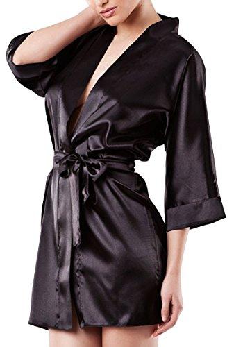 Schwarze Seide Kimono (Dkaren - Kimono/Morgenmantel aus Satin - 90 - Medium - Schwarz)