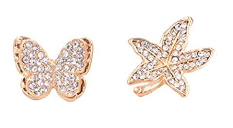 Set of Two Gold Tone Dainty Little Maple Leaf and Butterfly Crystal Brooch Pin (in Organza Bag).