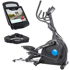 Skandika Carbon Champ Crosstrainer – Ellipsentrainer, App-Steuerung-Google Street View, Schwungmasse 23,5 kg, innovativer Magenttechnologie Bremssystem, 19 Trainingsprogrammen, klappbar, mit Brustgurt