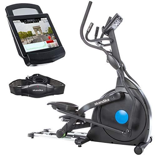 skandika Crosstrainer CardioCross Carbon Champ, 23,5 kg Schwungmasse, wartungsarmes Bremssytem über Magnettechnologie, Transportrollen, Bluetooth & Tablet-Halterug, Pulsmessung, 19 Programme