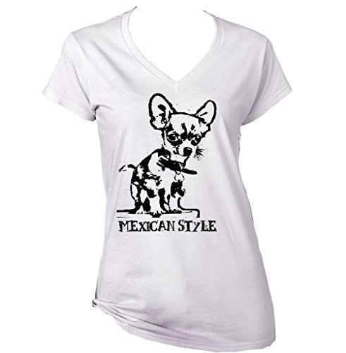 Teesquare1st Women's CHIHUAHUA MEXICAN STYLE PB 5 White T-Shirt Size XXLarge