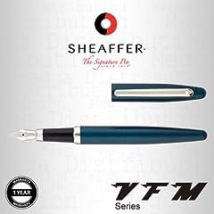 Idea Regalo - Sheaffer Vfm Series penna stilografica con finitura cromo nichelato–in pavone verde/turchese con finitura satinata e acciaio INOX, tratto medio, presentato in confezione regalo–blu e nero universale 37mm cartucce di inchiostro incluso