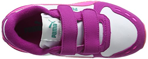 Puma Cabana Racer Sl V Ps, Baskets Basses Mixte Enfant Blanc (Puma White-knockout Pink 50)