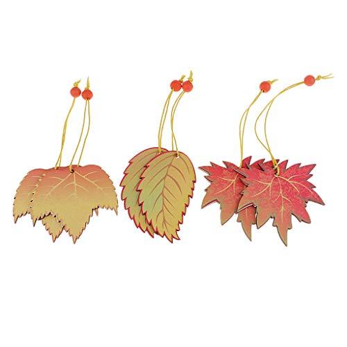 Sharplace 6 Stück Holz Maple Leaf Holz Anhänger Deko Set Für DIY Handwerk Verzierungen Dekoration Basteln Hochzeitsdekoration Weihnachten -