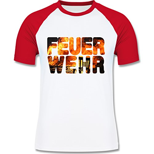 Feuerwehr - Feuerwehr Flammen - zweifarbiges Baseballshirt für Männer Weiß/Rot