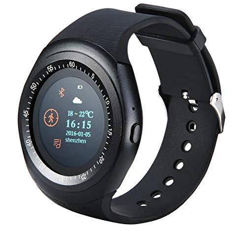 GoClever Fit Watch Smartwatch Fitness Uhr mit Blutdruckmesser, Pulsmesser, Bluetooth, Schlaftracker, Schrittzähler uvm. in schwarz