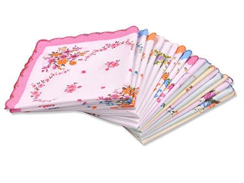 Milesky Damen Blumen Taschentücher 12 Stück 29x29cm YH01