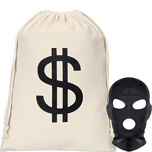 Räuber Kostüm Set, 15,7 x 20 Zoll Dollar Zeichen Geldsack Segeltuch Tasche mit Schwarzer Gesichtsmaske Halloween Kostüm für Halloween Cosplay Party Lieferungen