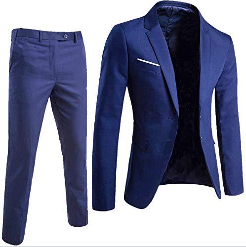 Keskin Anzug Herren Anzug Schwarz Business Slim Fit (54, Blau) -