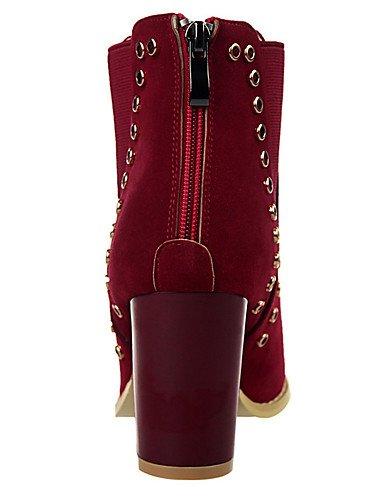 WSS 2016 Chaussures Femme-Extérieure / Décontracté-Noir / Marron / Rouge / Kaki / Amande-Gros Talon-Talons / Bout Pointu-Talons-Laine synthétique brown-us5.5 / eu36 / uk3.5 / cn35
