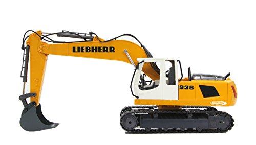 Jamara 405060 - Bagger Liebherr R936 1:20 2,4G - realistische Funktionen (entladen/ aufladen), jedes Gelenk einzeln steuerbar, 660 ° Turmdrehung, Metallschaufel, Motorsound, Hupe, Rückfahrwarnsound - 9