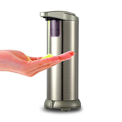 Automatische Seifenspender Sensor Seifenspender , 280ml Berührungslose Seifenspender mit Wasserdichtem Gehäuse Edelstahl Infrarot-Smart Automatisch Seifenspender für Küche und Bad(Champagner) (Dispenser-grün Hand Soap)