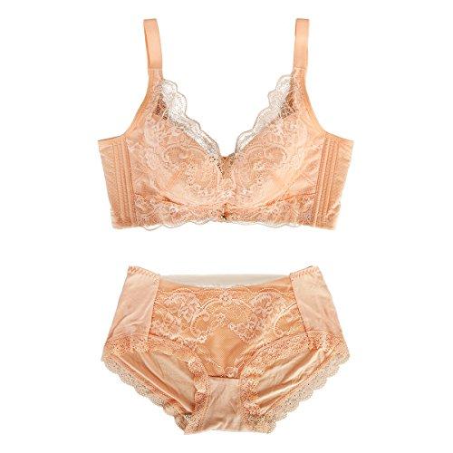 Bonjanvye Women's Everyday Basic Comfort Cotton Wirefree Bra with Lace Women's Bra Set Nude