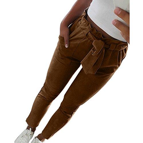 Coolster Damen-beiläufige gestreifte hohe Taillen-Hosen-elastische Taillen-beiläufige Hosen (Kaffee, 2XL) (Taille Bikini Braun Hohe Bottom)
