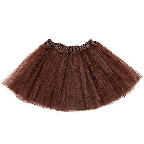 Eastlion Damen und Mädchen 3 Schichten Net Garn Classic Elastic Tüll Tutu Rock Prinzessin Ballett Tutus Kleid, Erwachsenen Einheitsgröße Braun