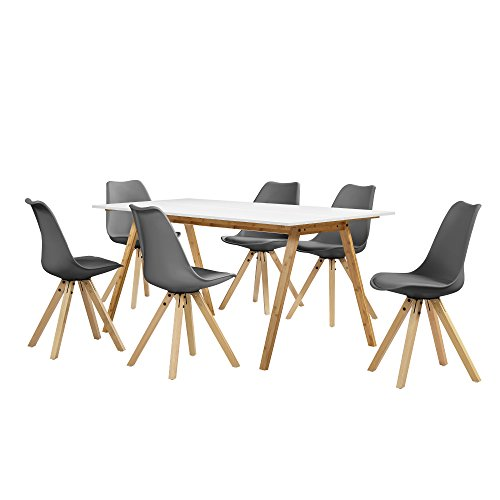 [en.casa] Esstisch Bambus weiß mit 6 Stühlen grau gepolstert 180x80cm Esszimmer Essgruppe Küche