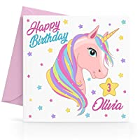 Personalised Girls Unicorn Birthday Card Any Age, Relative & Message