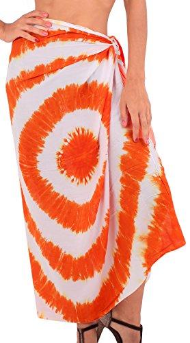 La Leela weicher Viskose Spirale Hand tie dye verschleiern Rock Sarong 78x43 Zoll weiß (Tie-dye-langer Rock)