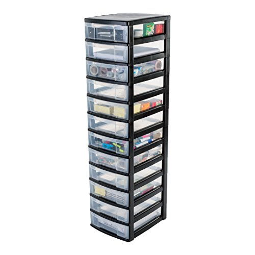 IRIS, Schubladenschrank / Schubladenbox / Rollwagen / Rollcontainer / Werkzeugschrank 'New Chest', NMC-012, mit Rollen, Kunststoff, schwarz / transparent BxTxH: 30 x 38 x 125.5 cm