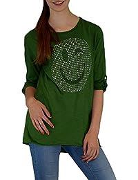 Modisches Smily Damen Shirt 3/4 Arm angedeuteter Vokuhila-Look super modern Gr.: S - XXL 36 - 44