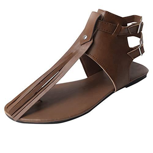 Womens Leder Thongs Flache Sandalen, Quaste Dekor T-Strap Flip Flops Fringe Schuhe Vintage Gladiator Strand Schuhe für Damen -