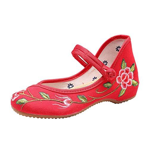 LILIHOT Der Frühlings- und Sommersegeltuchschnalle der großen Blume nationalen Wind bestickte Schuhe Pantoletten Damen Sommer Slipper Espadrilles Hausschuhe Flache Schuhe - Natürliche Segeltuch-schuhe