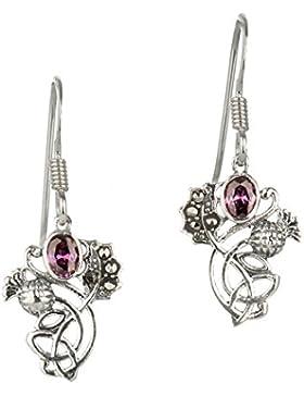Schottische Distel - Ohrhänger aus Sterling Silber mit Markasit und Amethyst