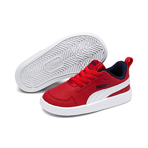 Puma Unisex-Kinder Courtflex PS Sneaker, Weiß White-high Risk Red-Peacoat, 35 EU - Jungen Schuhe Puma