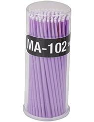 100pcs Coton-tige Brosse Micro Jetable Démaquillage pour Extension de Cils de Mascara - Violet