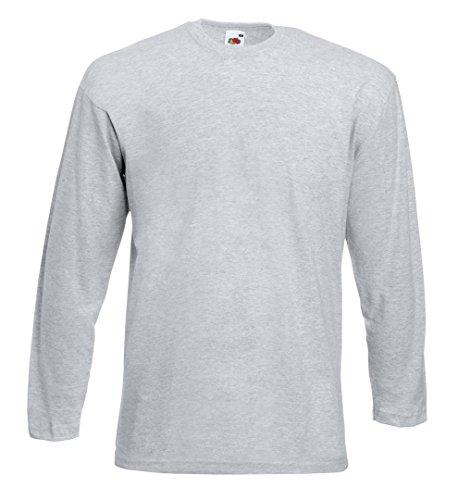 Fruit of the Loom Langarm T-Shirt 61–038–0 Gr. XL, Grau - Heather Grey (Langarm-shirt Grau)