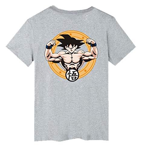 SERAPHY Unisex 2018 Camiseta Summer Dragon Ball Super Saiyan Camiseta Vegeta Goku Super Z Beerus Anime Cosplay Camiseta de algodón gris-505 M