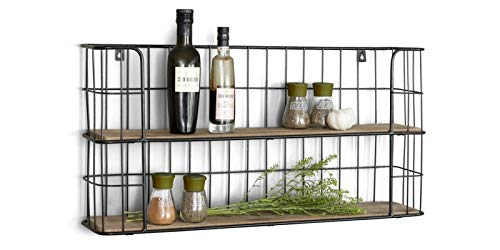 LIFA LIVING Vintage Wandregal aus Holz und Metall Schwarz mit 2 Böden - Holzregal - Natur Stil, Gewürzboard Küchenregal Regal 2 Etagen - Küchenregal oder Gewürzständer | 68 x 35 x 16 cm