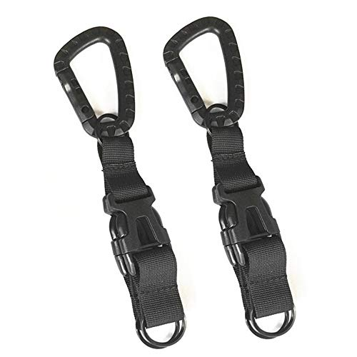 EUYOUZI 2Pcs Tactical Gear Clip, Quick Release Tactical Carabiner Keychain Nylon Webbing Belt Hook Key Ring Holder Outdoor Backpack Molle Bags Hanging Buckle Key Ring Heavy Duty Keychain Clip (Black) -