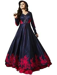 Dhruv Fab Women's Bangalori Blue & Red Anarkali Semi-Stitched Salwar Suit