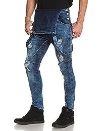 BLZ jeans - Salopette homme destroy bleu délavé