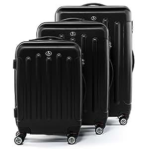 FERGÉ luggage set 3 piece hard shell trolley LYON suitcase set 4 twin spinner wheels black