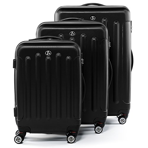 FERGÉ Juego de 3 maletas de viaje LYON Trolley funda rígida 4 ruedas negro