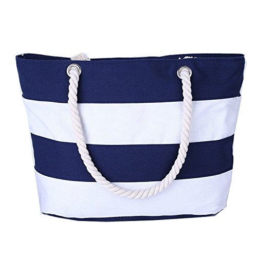 VANCOO Large Utility Canvas and Nylon Travel Beach Tote Bag For Women and Girls
