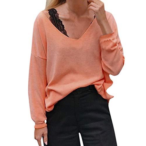 Schule Kurzarm Tee (Ncenglings Damen Bluse Herbst Kleidung Sexy V-Ausschnitt T-Shirt Mode Einfarbig Tunika Hemd Persönlichkeit Blusen Freizeit Elastisch Shirt Elegant Kreative Oberteil V-Ausschnitt Langarmshirt Tops)