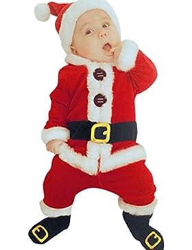 ZEZKT Baby Weihnachten Bekleidung Mädchen Jungen Langarmshirt+Hosen+Hat+Socken Set - Geschenke für Weihnachten...