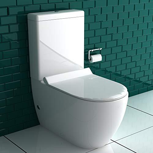 Alpenberger Stand- WC Komplett Set mit Spülkasten + GEBERIT Spülgarnitür + Abnehmbarer WC-Sitz mit Absenkautomatik | Bodenstehend Tiefspüler Toilette | Ablauf Waagerecht und Senkrecht möglich