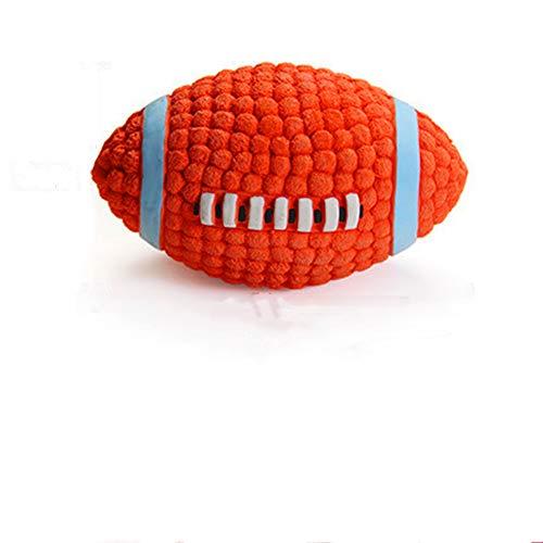 XinC Haustierspielzeug Kauen Rugby Interaktives Latex-Stimmball-Zahnreinigungstraining Spielen Sie Kauen als interaktives Hundespielzeug, das für große, mittlere und kleine Hunde geeignet ist -