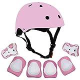MANYYSI Schutz Kinder 7 STÜCKE Sport Schutzausrüstung Knie Ellbogenschützer Handgelenkstütze Set Walk Outdoor Rollschuhe Inline Skates Skateboard Radfahren (Pink)