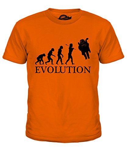 CandyMix Raumfahrer Evolution Des Menschen Unisex Jungen Mädchen T Shirt, Größe 12 Jahre, Farbe Orange (Kind Orange Astronaut Kostüme)