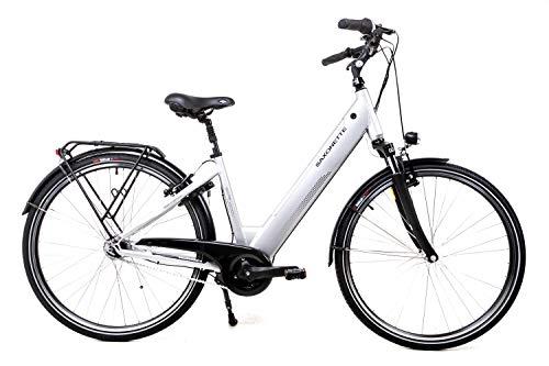 28 Zoll Saxonette Elektro Fahrrad E Bike Pedelec Shimano Nexus Mittelmotor Rücktritt Silber