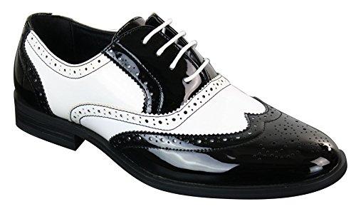 Patron scarpe classiche da uomo in finta pelle lucida con lacci stile elegante brogue nero-bianco 8uk, 42eu