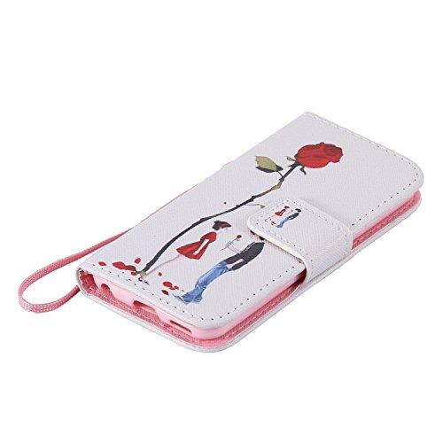 iPhone SE/5S/5Custodia, Tebeyy Custodia Flip a portafoglio in pelle, custodia con cavalletto [Premium] [Card Slot] [chiusura magnetica], colorato con disegno cute animale Motivo floreale PU Custodia  Normal is Boring
