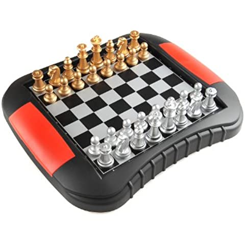 Monaco Magnetic Series: Ajedrez, Juego de mesa magnético (color : oro y plata) , Tamaño Medio: Dimensiones 27,2 x 23,7 x 3,5 cm, Mod. SC9616 DE